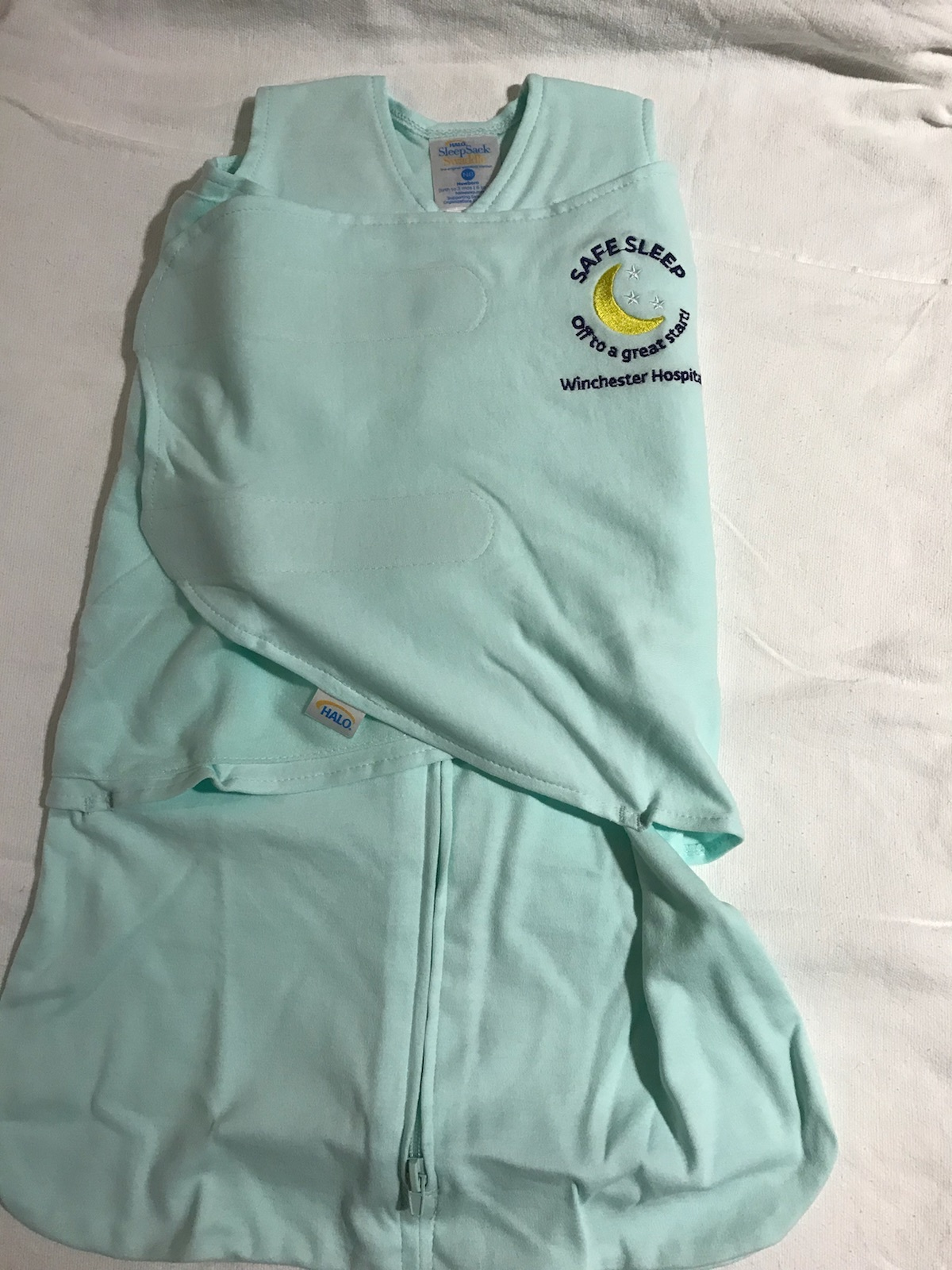 Sleep sack given to all babies at Winchester Hospital.